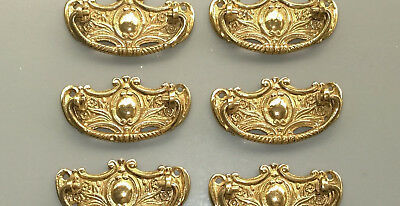 6 heavy handles polished pull solid brass heavy old vintage style drawer 80mm B