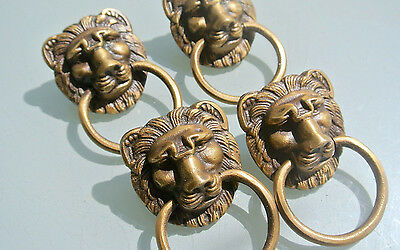 "4 PULLS handles Small heavy LION SOLID BRASS old style house antiques 2""B"