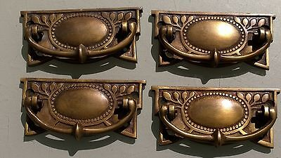 4 heavy vintage old style handles door brass furniture antiques 95 mm pulls B