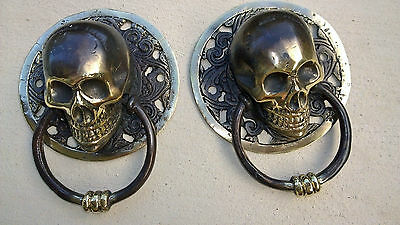 2 round large SKULL head ring pull Handle BRASS  day of the dead cabinet door B