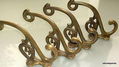 "4 hall stand COAT HOOKS door solid brass antiques vintage old style 5"" hook B"