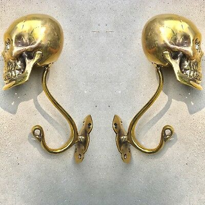 "2 Large SKULL HOOKS Polished hollow real Brass old style day the dead 6 ""long B"