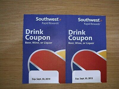 Southwest Airlines Drink Coupons (2) - Expires 09/30/2019, Fast Shipping