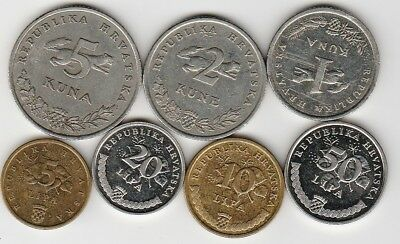 7 different world coins from CROATIA