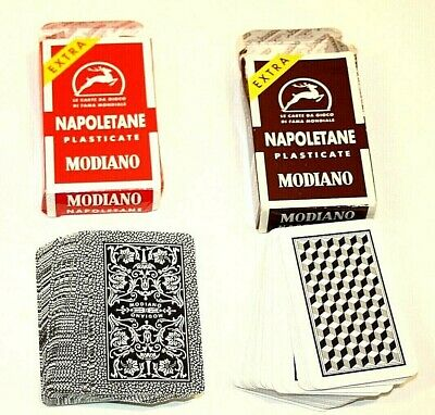 2 Decks Napoletane Plasticate Modiano 97/25 97/38 Playing Cards