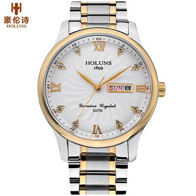 HOLUNS Men's Pilot Quartz Watches 316L Steel Band Waterproof Week Date Watch