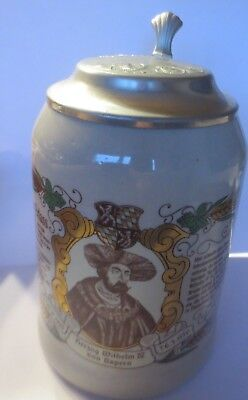Steinzeugkrug Beer Mug Stoneware Ceramics with Tin Lid Approx. 1950s Years