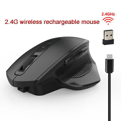 Rechargeable 2.4G Silent Wireless Vertical Mouse 6 Buttons 2400 DPI Mice For PC