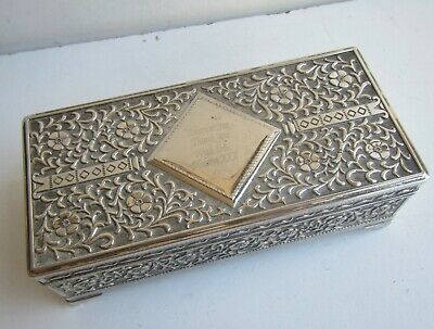 Vintage Decorative Silver Plated Engraved Jewellery Box