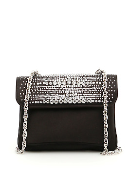 db6c7c6e5cc AUTHENTIC RODO BLACK Satin Small Crystal Box Clutch Bag Evening ...