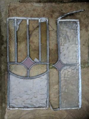 Antique Victorian STAINED GLASS WINDOW PANEL Off-Cuts Leaded Frame
