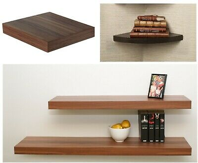 Walnut Wood Effect Floating Shelf Wall Mounted Storage Unit Shelving Display Kit