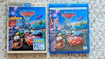 Disney Pixar Cars 2 Blu-Ray 3D + Blu-Ray + DVD 5 Disc Combo Used w/ slipcover