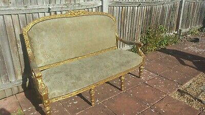 Antique French Louis XV Salon Suite.19th/20th C.3 seater sofa, 2 chairs