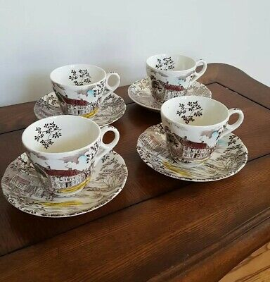 Set Of 4 Staffordshire Dickens Coaching Stages Tea Cups And Saucers