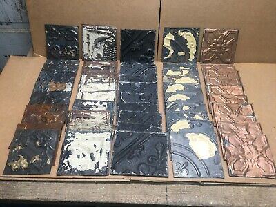 "50pc Craft Lot of 6"" by 6"" Antique Ceiling Tin Vintage Reclaimed Salvage Art"