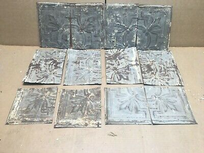 "12pc Craft Lot 8"" by 6"" Antique Ceiling Tin Metal Reclaimed Salvage Art"