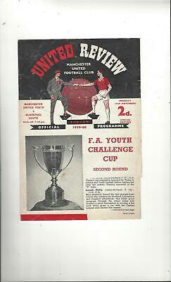 Manchester United v Blackpool FA Youth Cup Football Programme 1959/60