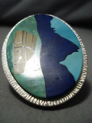 Wonderful Vintage Navajo Inlay Turquoise Lapis Sterling Silver Native Ring Old
