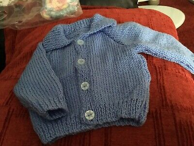 Blue Cardigan Hand Knitted 0-3 Months With Collar