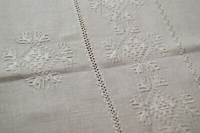 Vintage White Linen Lefkara Style Embroidered Tablecloth #t28