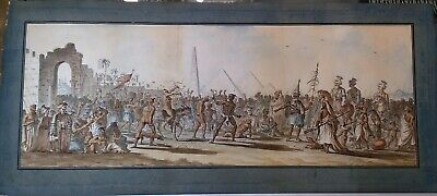 Antique Watercolour Painting By Octavien Dalvimart, Pyramids Of Giza, Circa 1800
