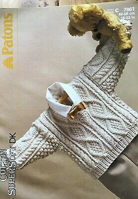 Patons Knitting Pattern For Baby's Aran V Neck Sweater. To Fit  18-22 Inch Chest