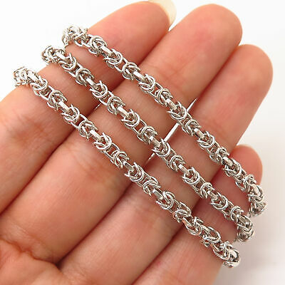 """925 Sterling Silver Italy Byzantine Chain Necklace 17"""""""