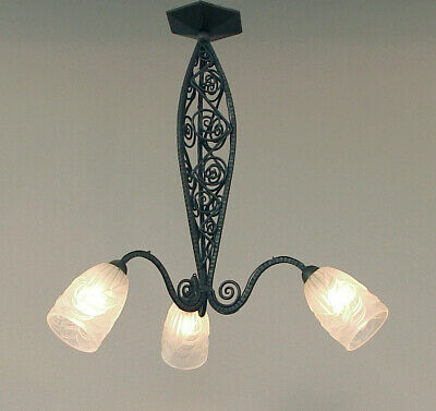"""A """"Tops"""" French Art Deco Wrought Iron Chandelier w/3 Fabulous Schneider Shades"""