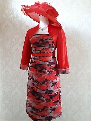 Bnwt Gina Bacconi Mother Of The Bride Outfit Red Dress & Bolero Jacket Size 10