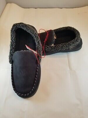 d9e000143 Mens DEARFOAMS Black Bedroom House Shoes Memory Foam Moccasins Slippers M  (9-10)