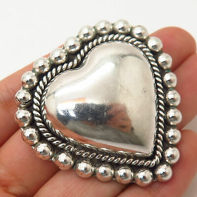 925 Sterling Silver Vintage Mexico Hollow Large Heart Design Brooch / Pendant