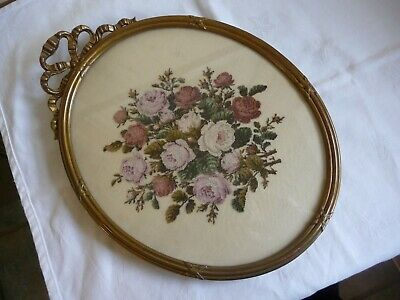 Antique Edwardian Micro Petit Point Picture Roses in Oval Gilt Ribbon Bow Frame