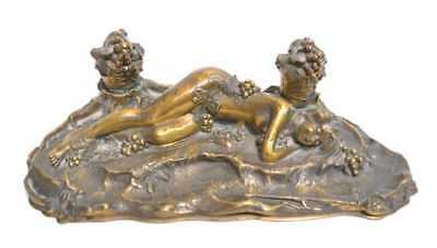 Antique Art Deco Signed Paul Philippe Bronze Double Inkwell Nymph Grapes France