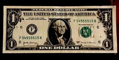 USA 2007 $1 One Dollar Bill Fancy Serial Number US Bank Note