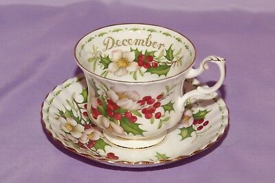 Royal Albert Teacup & Saucer DECEMBER Flower Of The Month Series CHRISTMAS ROSE