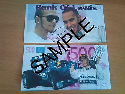 Lewis Hamilton Signed Novelty Bank Note 500 Euro Banknote Birthdays