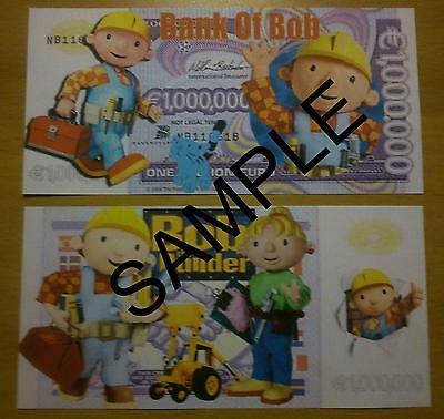 Bob The Builder 1 Million Euro Novelty Bank Note Millionaire Banknote