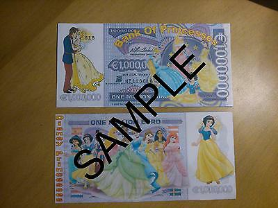 Disney Princesses Novelty 1 Million Euro Bank Note Birthdays Gift Banknote Xmas