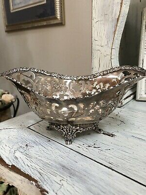TIFFANY & CO Sterling Silver Footed Pierced Sweet Meat Candy Dish