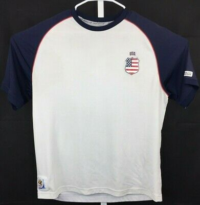 Fifa USA Mens Size L XL White Blue T Shirt South Africa 2010 World Cup