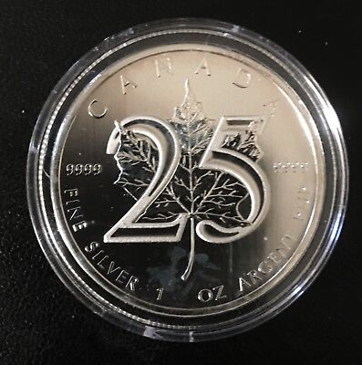2013 25th Anniversary 1 Oz Canadian Silver Maple Leaf Coin in Capsule