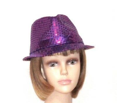 55e31d46a4a Purple Light Weight Full Sewn Sequin Society Fedora Trilby Red Hat Ladies