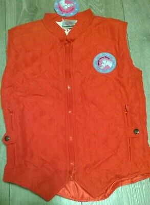 girls red equestrian horse pony gilet bodywarmer jacket quilted Age 11 12 13 14
