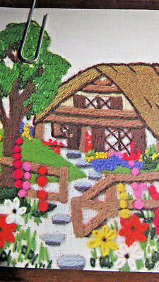 Sunset designs Jiffy Stitchery Cottage Garden #819 completed 99% 1976 vintage
