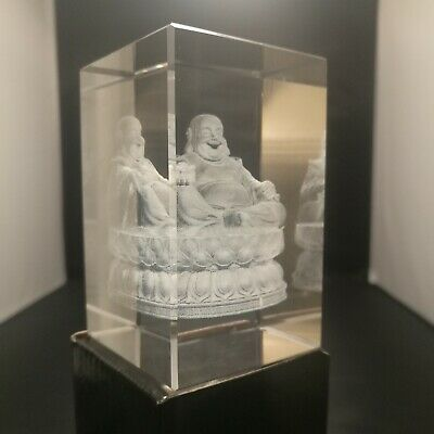 Laser 3D Etched Clear Crystal Block Ornament Gift Paperweight - BUDDHA MAITREYA