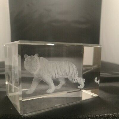 Laser 3D Etched Clear Crystal Block Ornament Gift - CHINESE ZODIAC TIGER