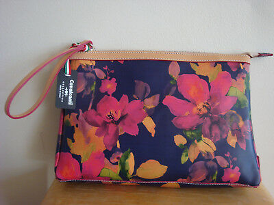 Cavalcanti Collection Italy Leather Floral Large Wristlet Or Cosmetic Bag  NWT! 5020f662b8938