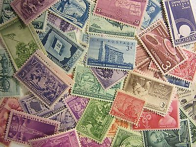 Old USA postage stamp lots ALL DIFFERENT MNH 3 CENT COMMEMS MINT FREE SHIPPING