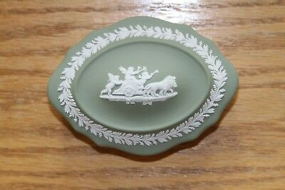 Choice: Four Wedgwood Sage Green Jasper Ware Cupids Scalloped Oval Trinket Boxes